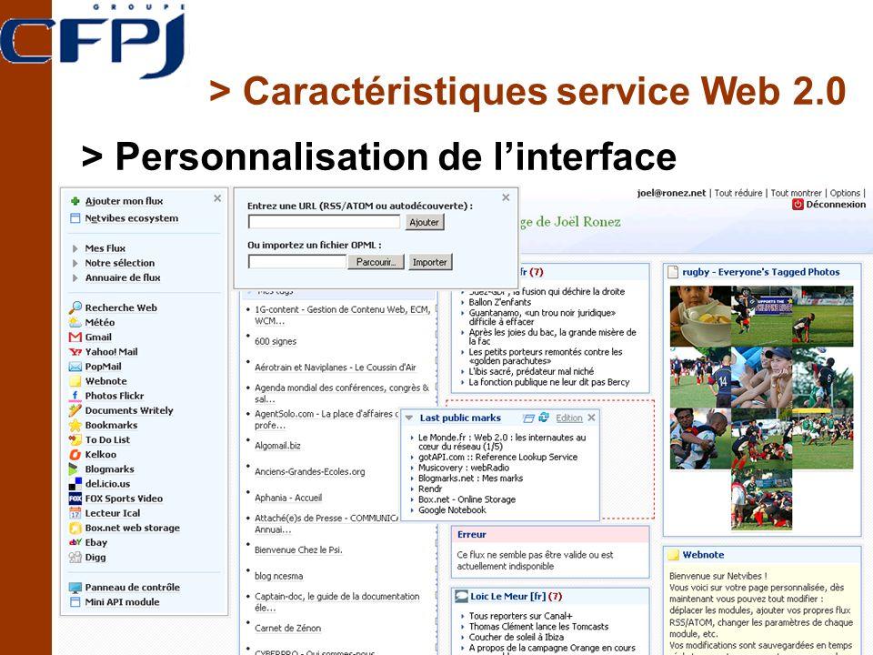 > Caractéristiques service Web 2.0