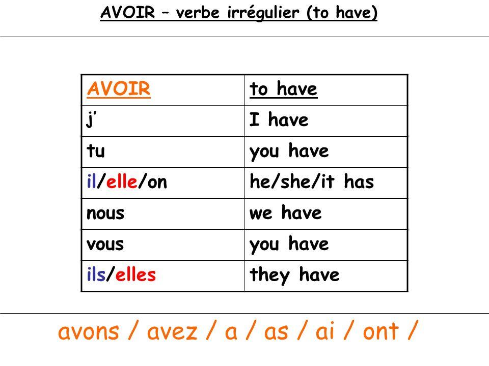 AVOIR – verbe irrégulier (to have)