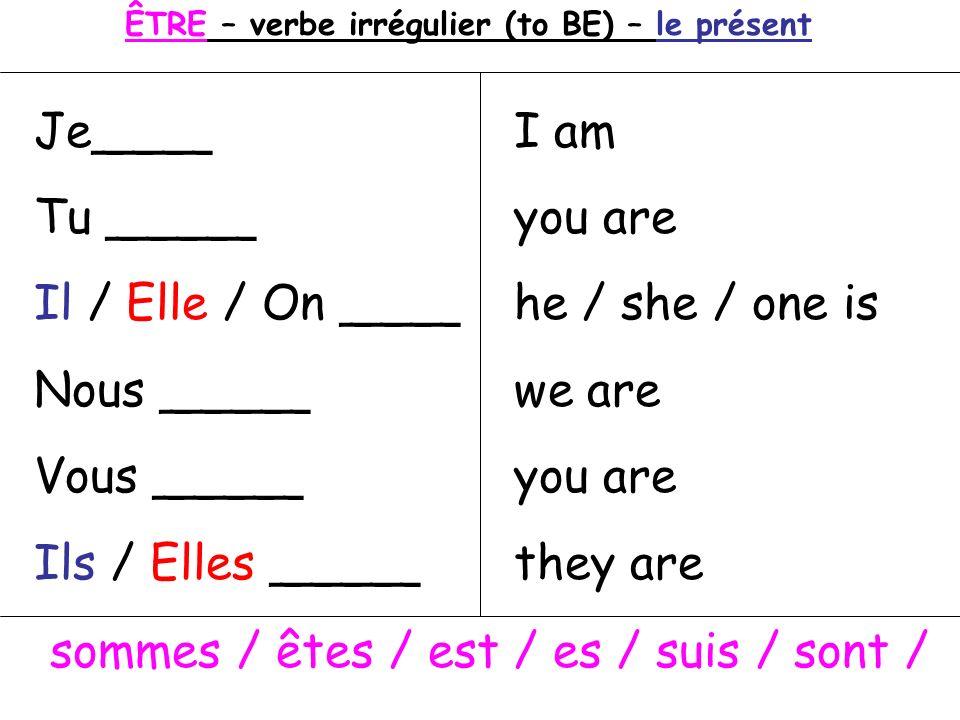ÊTRE – verbe irrégulier (to BE) – le présent