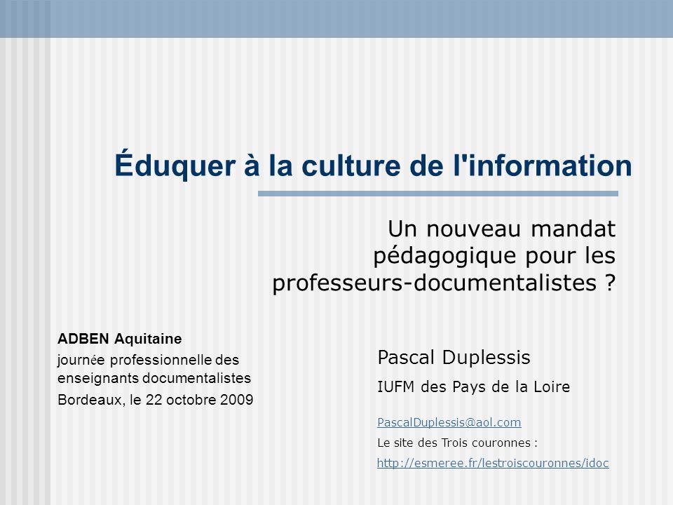 Éduquer à la culture de l information
