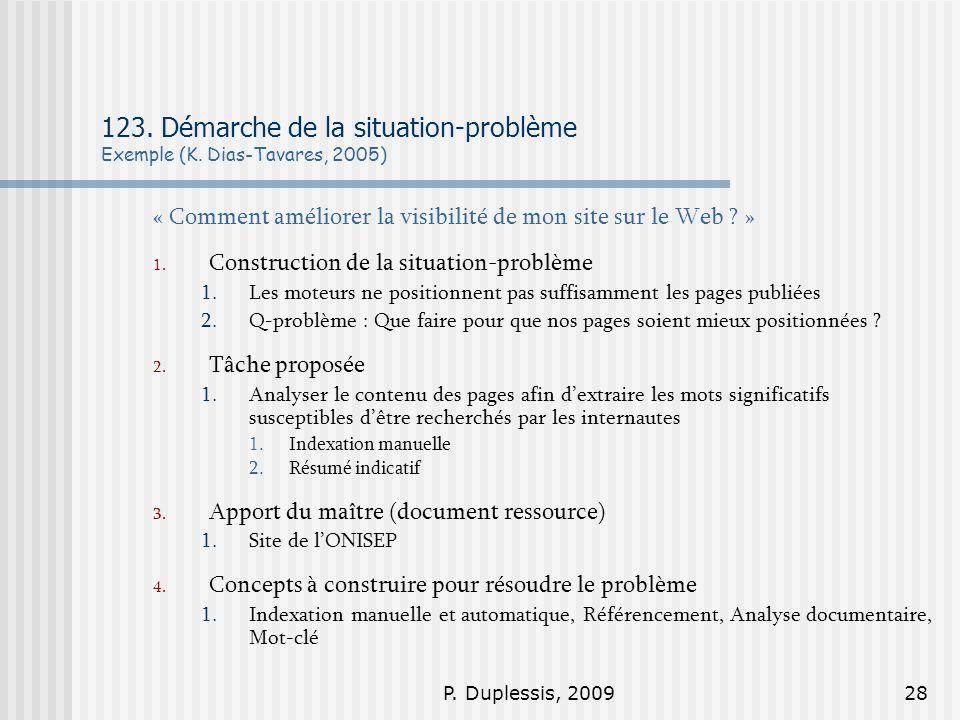 123. Démarche de la situation-problème Exemple (K. Dias-Tavares, 2005)