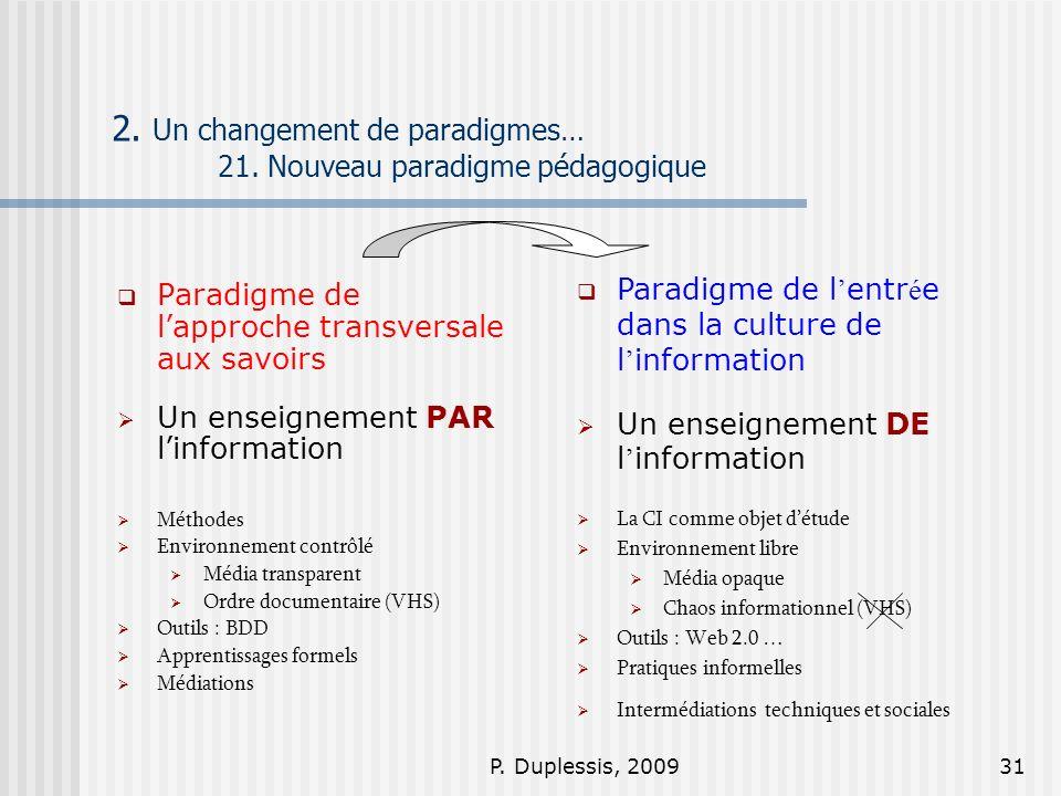 2. Un changement de paradigmes… 21. Nouveau paradigme pédagogique