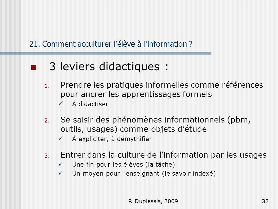 21. Comment acculturer l'élève à l'information
