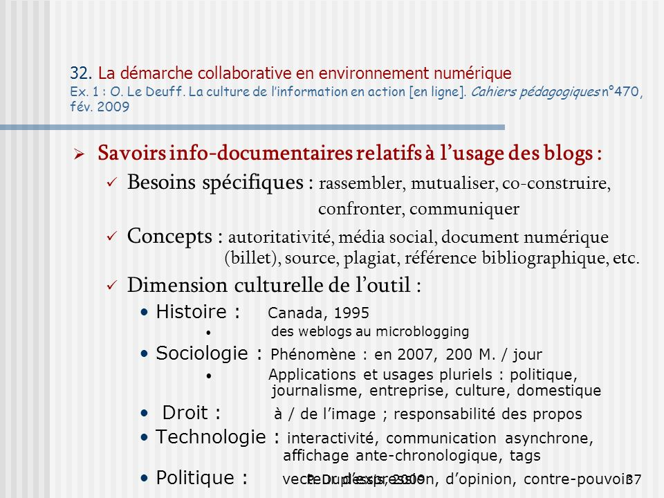 Savoirs info-documentaires relatifs à l'usage des blogs :