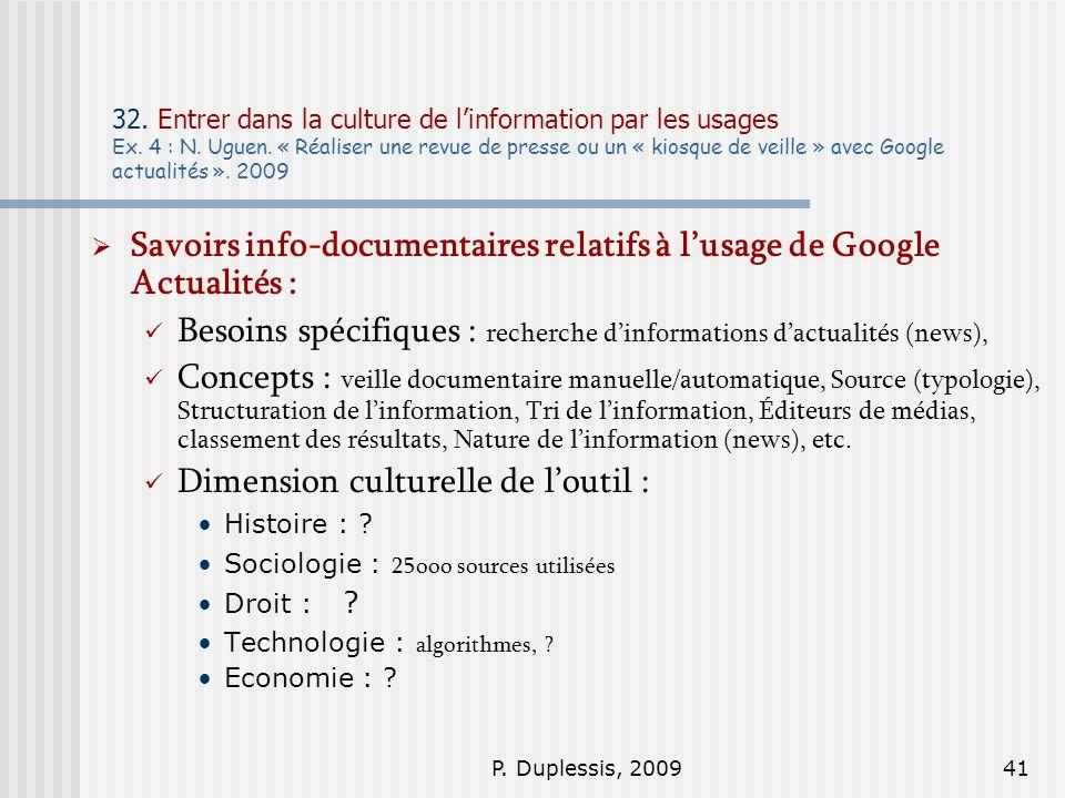 Savoirs info-documentaires relatifs à l'usage de Google Actualités :