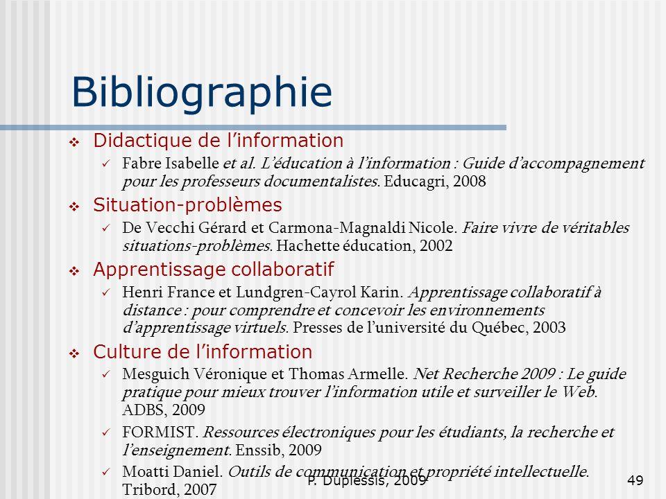 Bibliographie Didactique de l'information Situation-problèmes