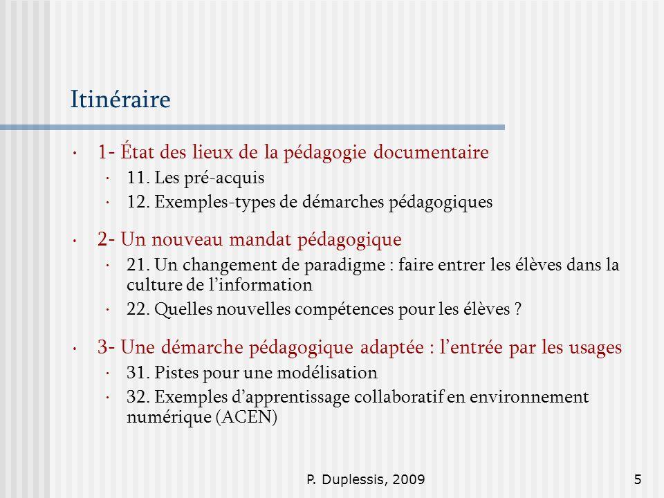 Itinéraire 1- État des lieux de la pédagogie documentaire