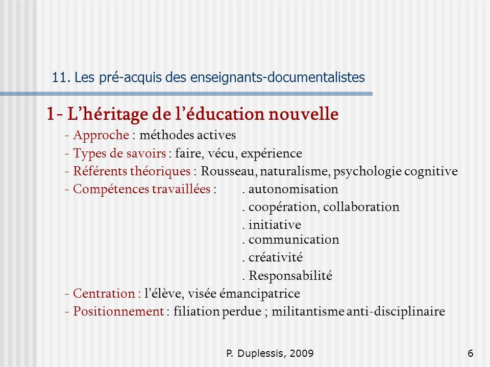 11. Les pré-acquis des enseignants-documentalistes