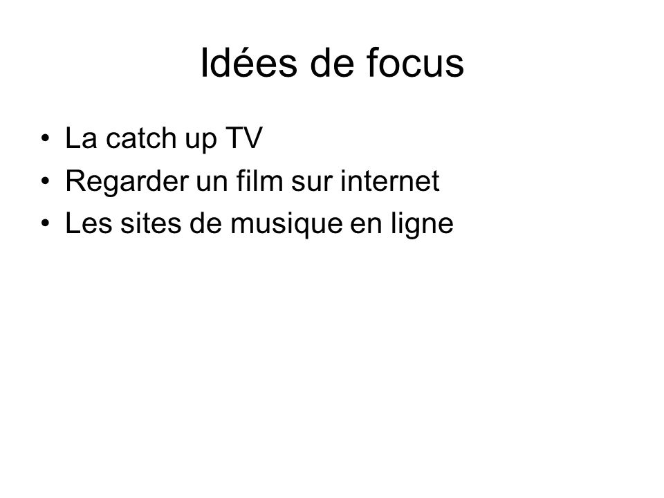 Idées de focus La catch up TV Regarder un film sur internet
