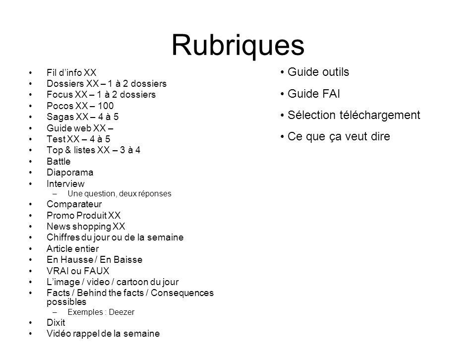 Rubriques Guide outils Guide FAI Sélection téléchargement