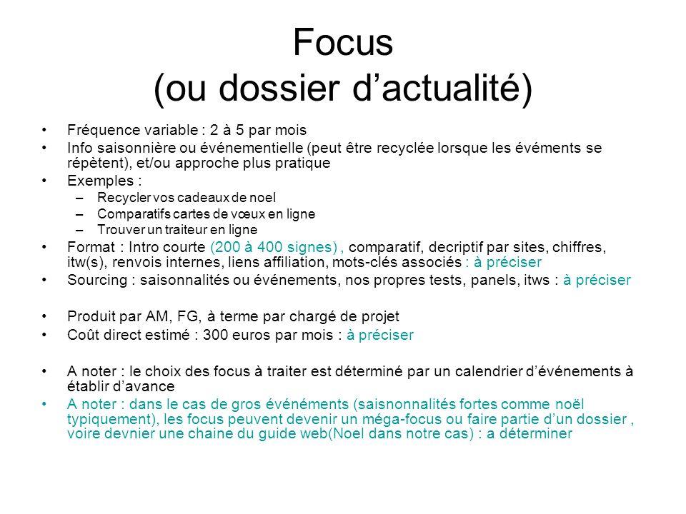 Focus (ou dossier d'actualité)