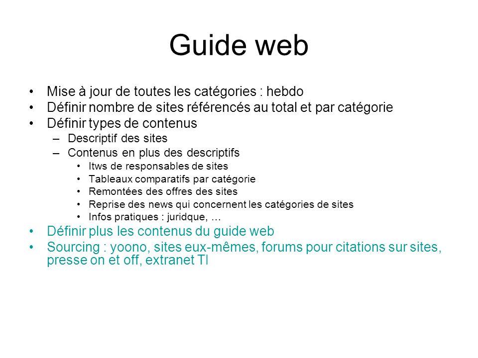 Guide web Mise à jour de toutes les catégories : hebdo