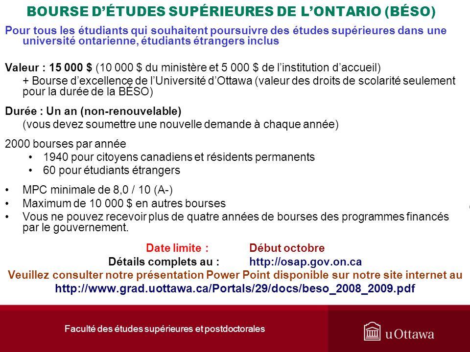 BOURSE D'ÉTUDES SUPÉRIEURES DE L'ONTARIO (BÉSO)