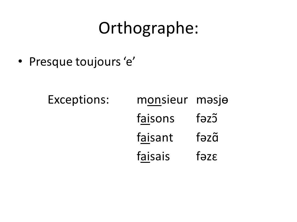 Orthographe: Presque toujours 'e' Exceptions: monsieur məsjɵ
