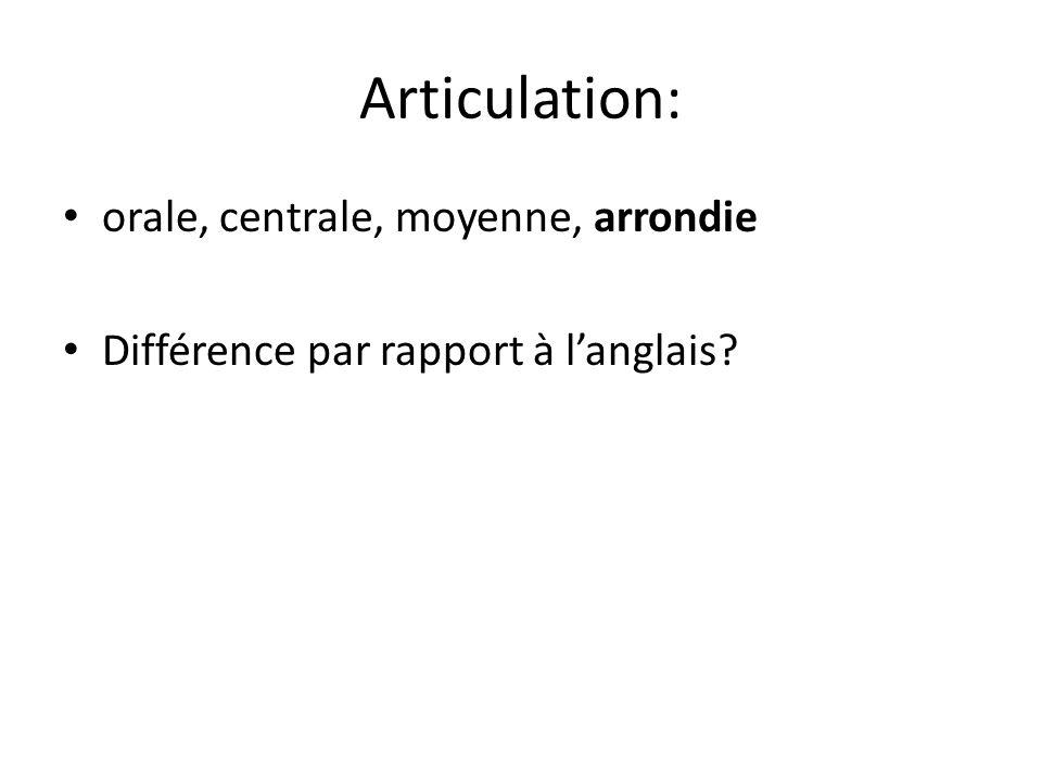 Articulation: orale, centrale, moyenne, arrondie