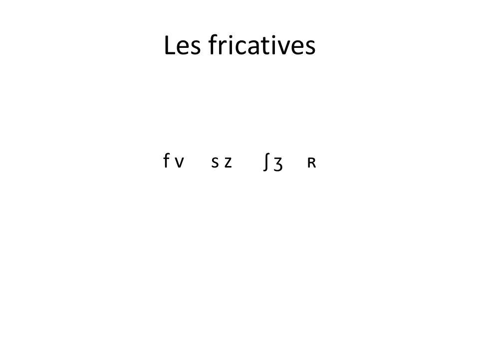 Les fricatives f v s z ʃ ʒ ʀ