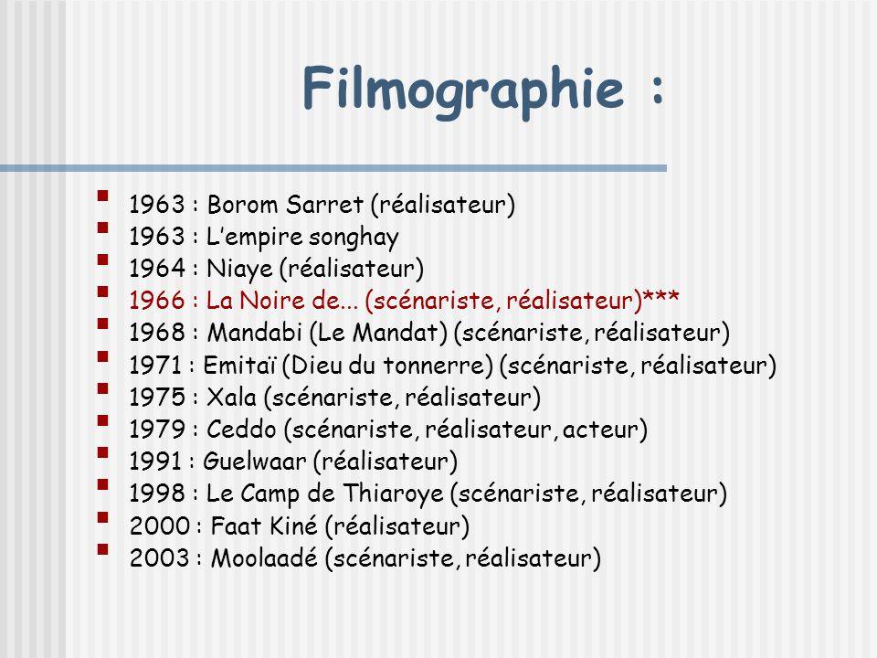 Filmographie : 1963 : Borom Sarret (réalisateur)