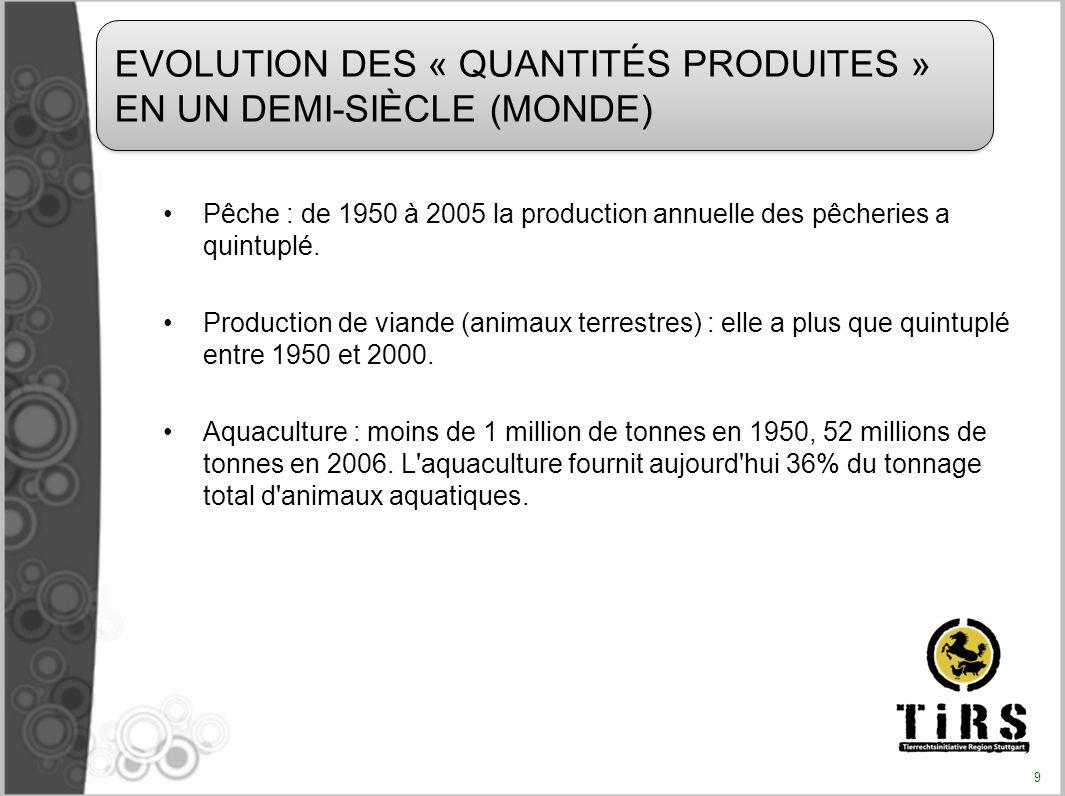 EVOLUTION DES « QUANTITÉS PRODUITES » EN UN DEMI-SIÈCLE (MONDE)
