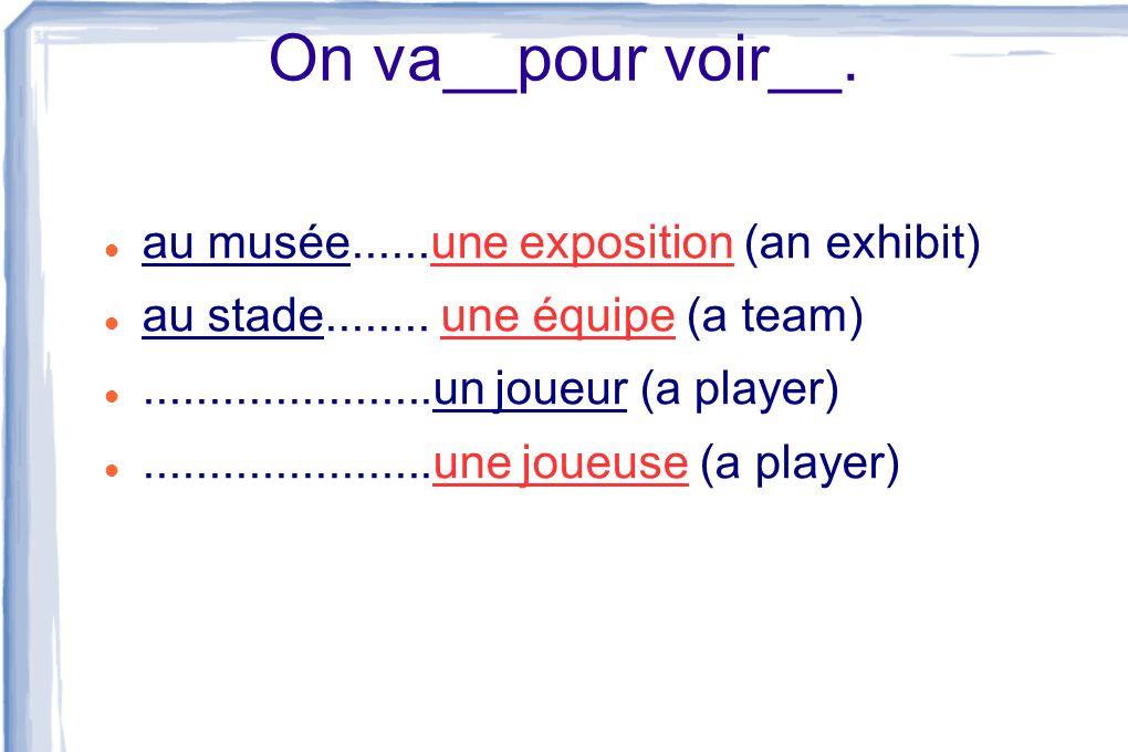 On va__pour voir__. au musée......une exposition (an exhibit)