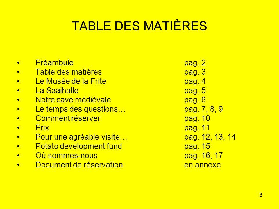 TABLE DES MATIÈRES Préambule pag. 2 Table des matières pag. 3
