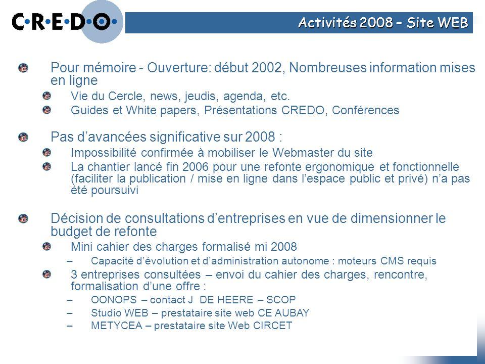 Pas d'avancées significative sur 2008 :