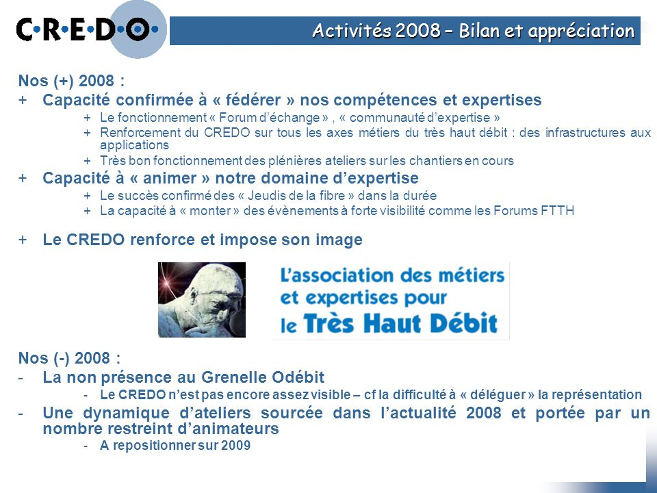 Activités 2008 – Bilan et appréciation