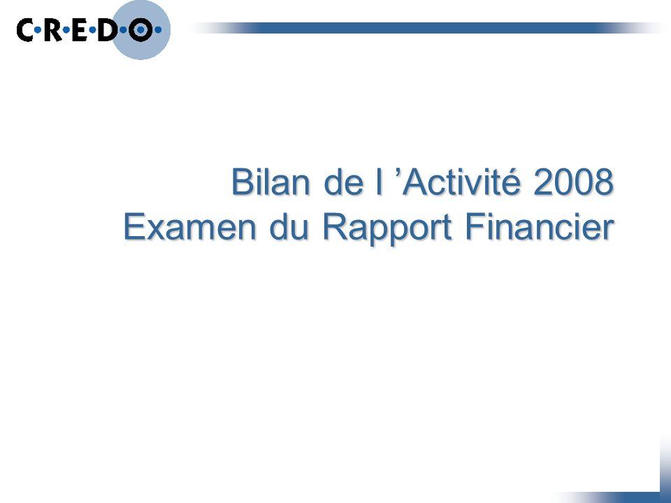 Bilan de l 'Activité 2008 Examen du Rapport Financier