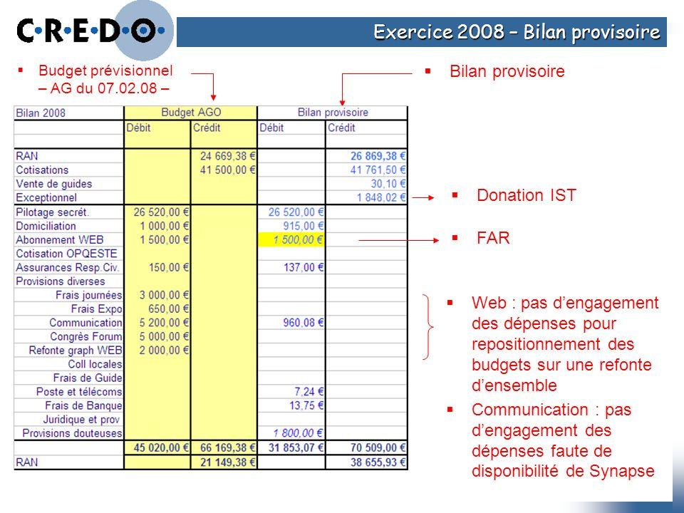 Exercice 2008 – Bilan provisoire