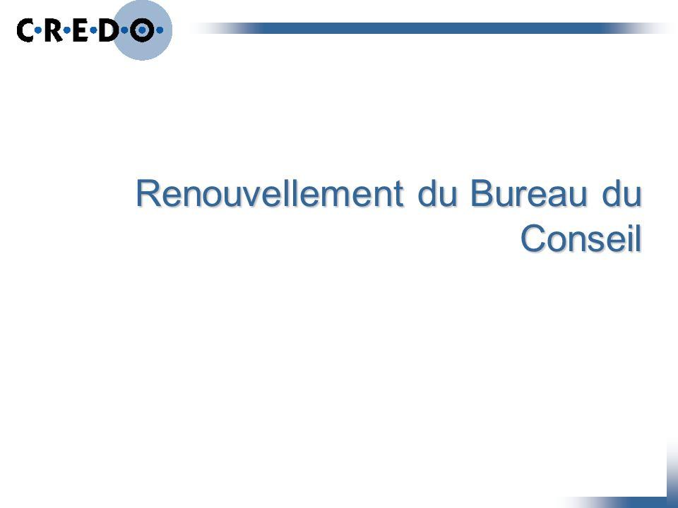 Renouvellement du Bureau du Conseil