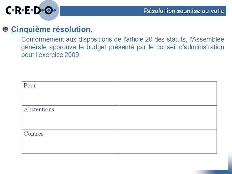 Cinquième résolution. Résolution soumise au vote