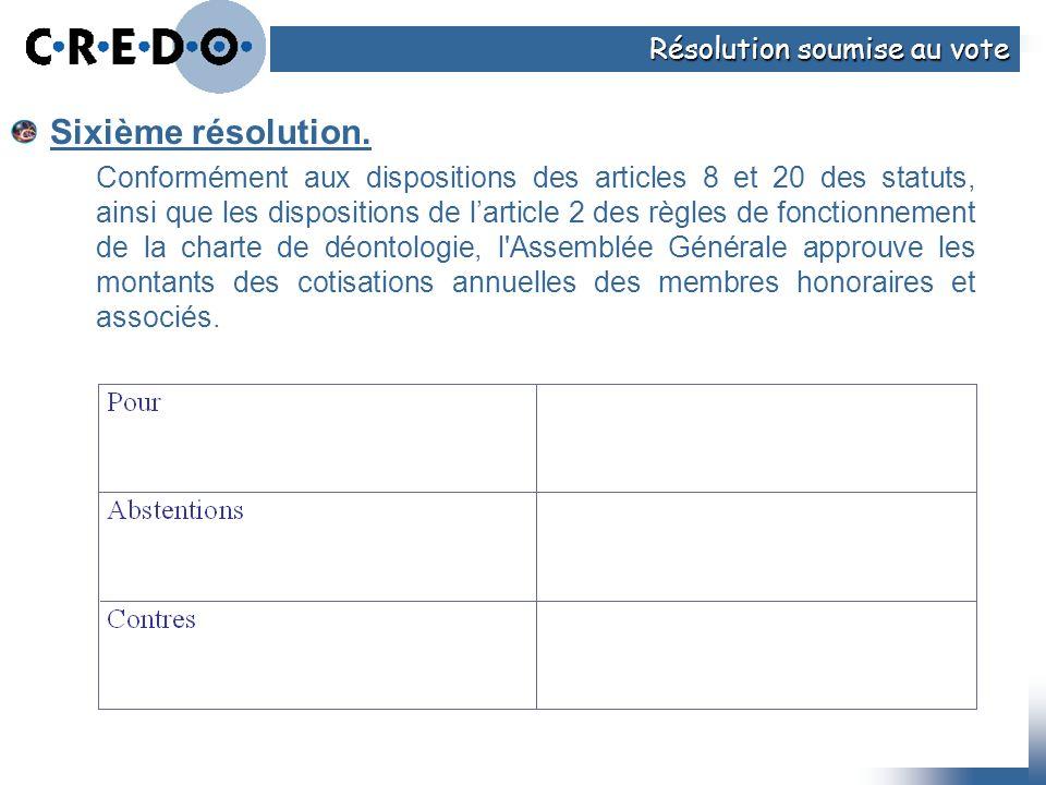 Sixième résolution. Résolution soumise au vote