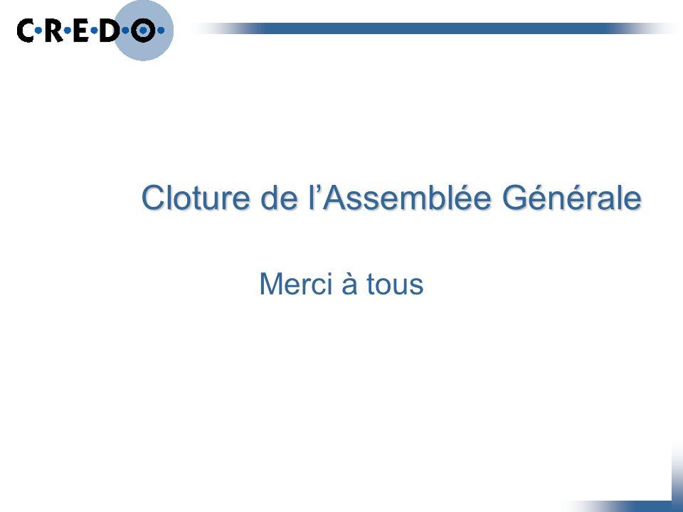 Cloture de l'Assemblée Générale