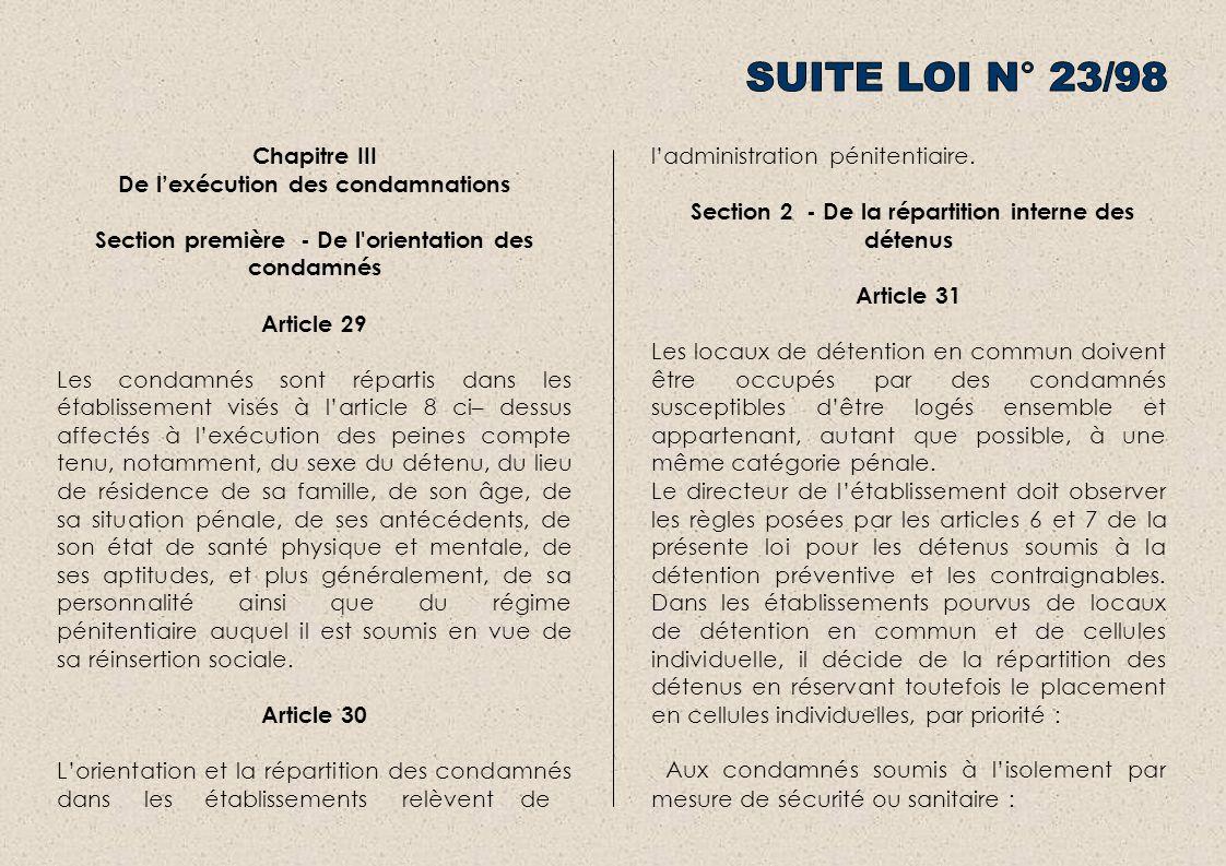 SUITE LOI N° 23/98 Chapitre III De l'exécution des condamnations