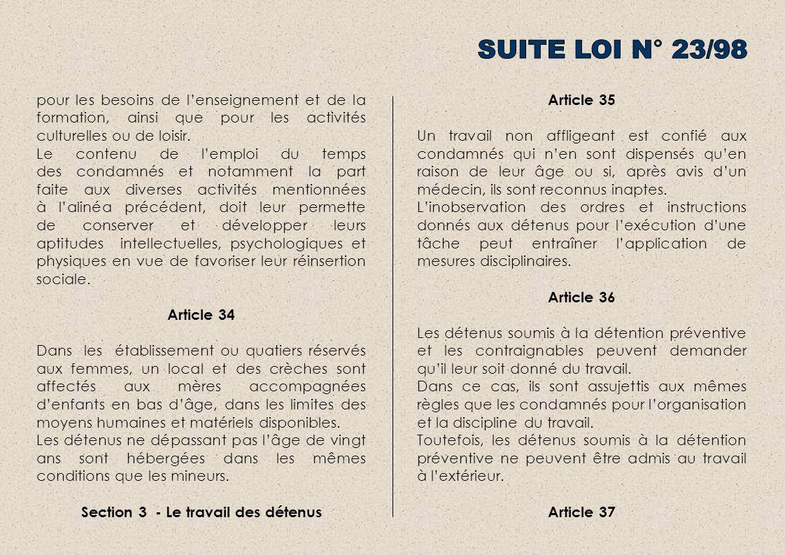 Section 3 - Le travail des détenus