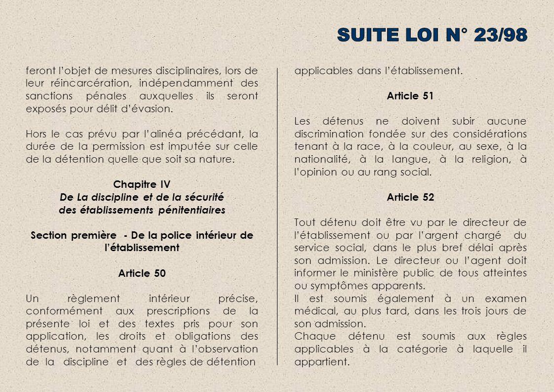 SUITE LOI N° 23/98