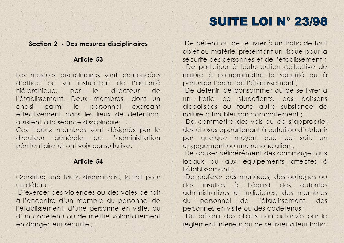 Section 2 - Des mesures disciplinaires