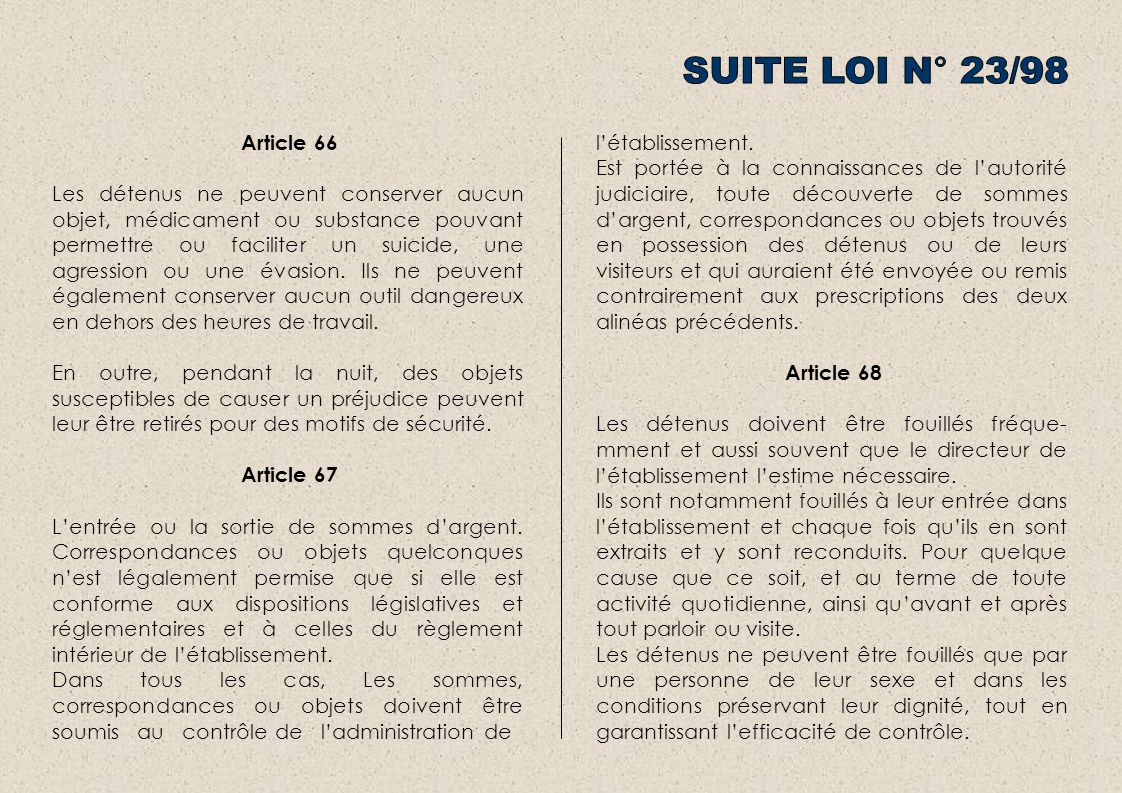 SUITE LOI N° 23/98 Article 66.
