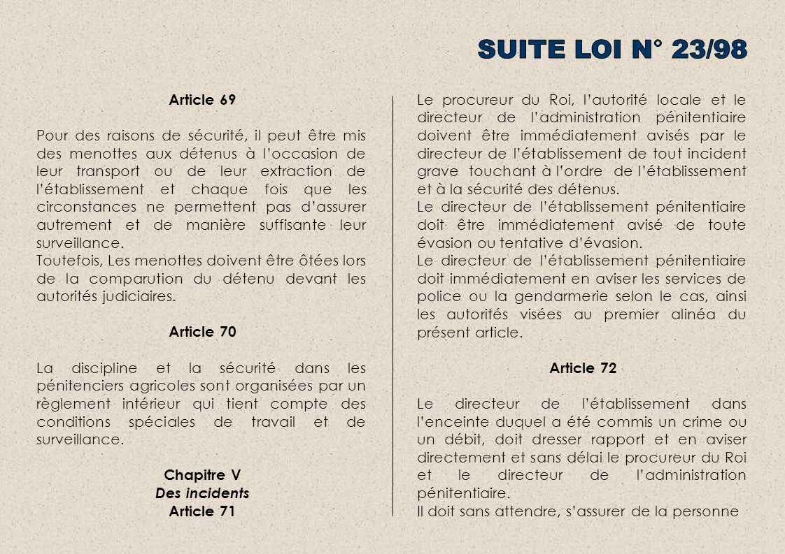 SUITE LOI N° 23/98 Article 69.