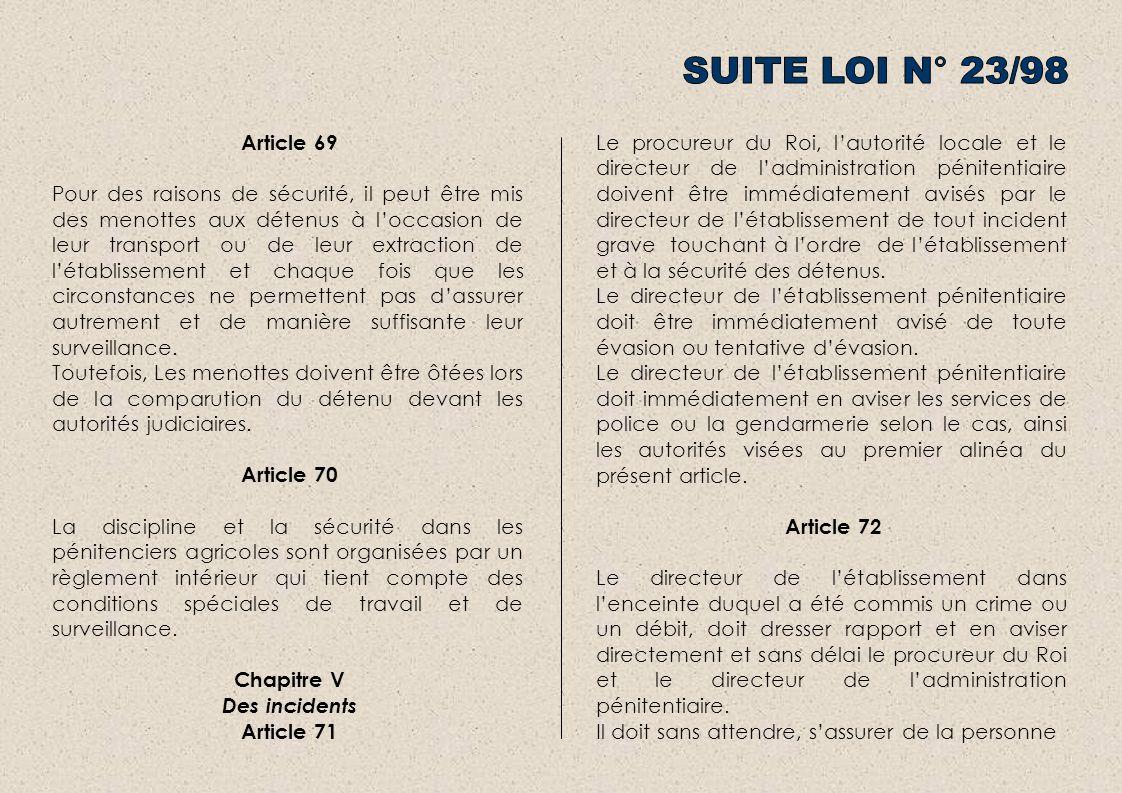 SUITE LOI N° 23/98 Article 69.