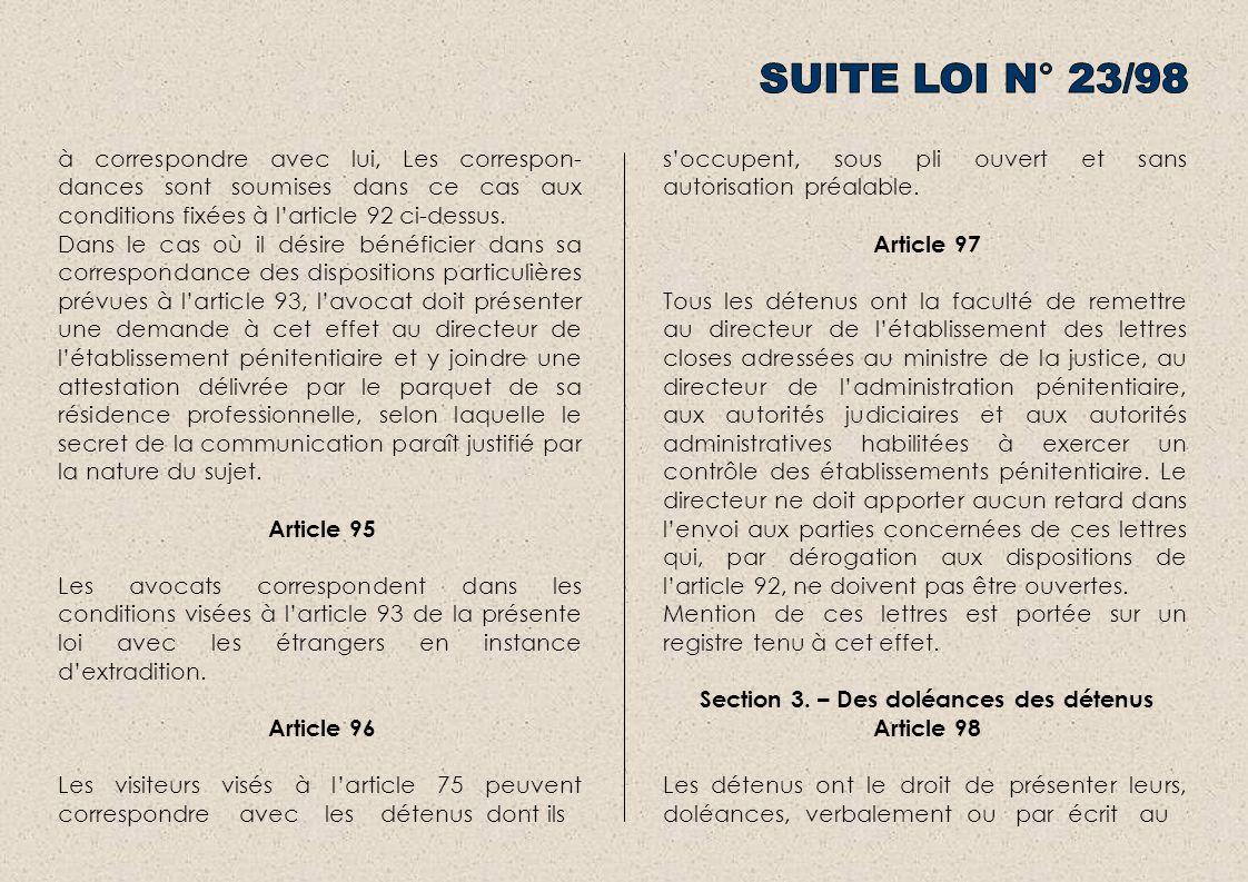 Section 3. – Des doléances des détenus