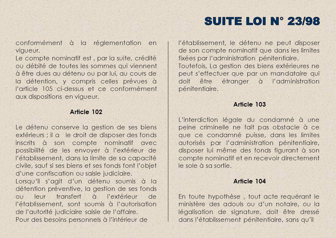 SUITE LOI N° 23/98 conformément à la réglementation en vigueur.