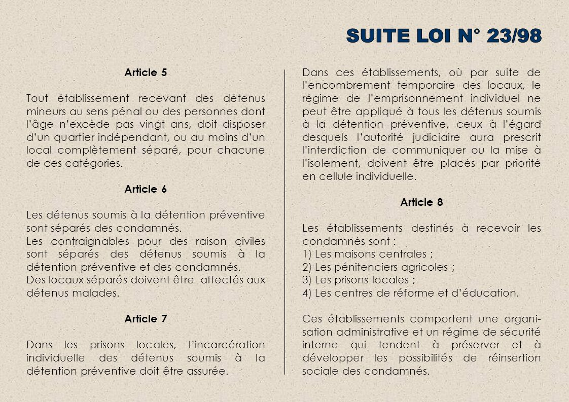 SUITE LOI N° 23/98 Article 5.