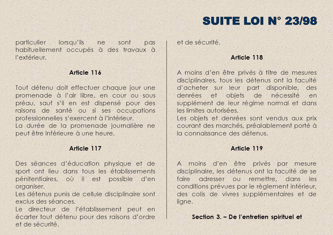 Section 3. – De l'entretien spirituel et