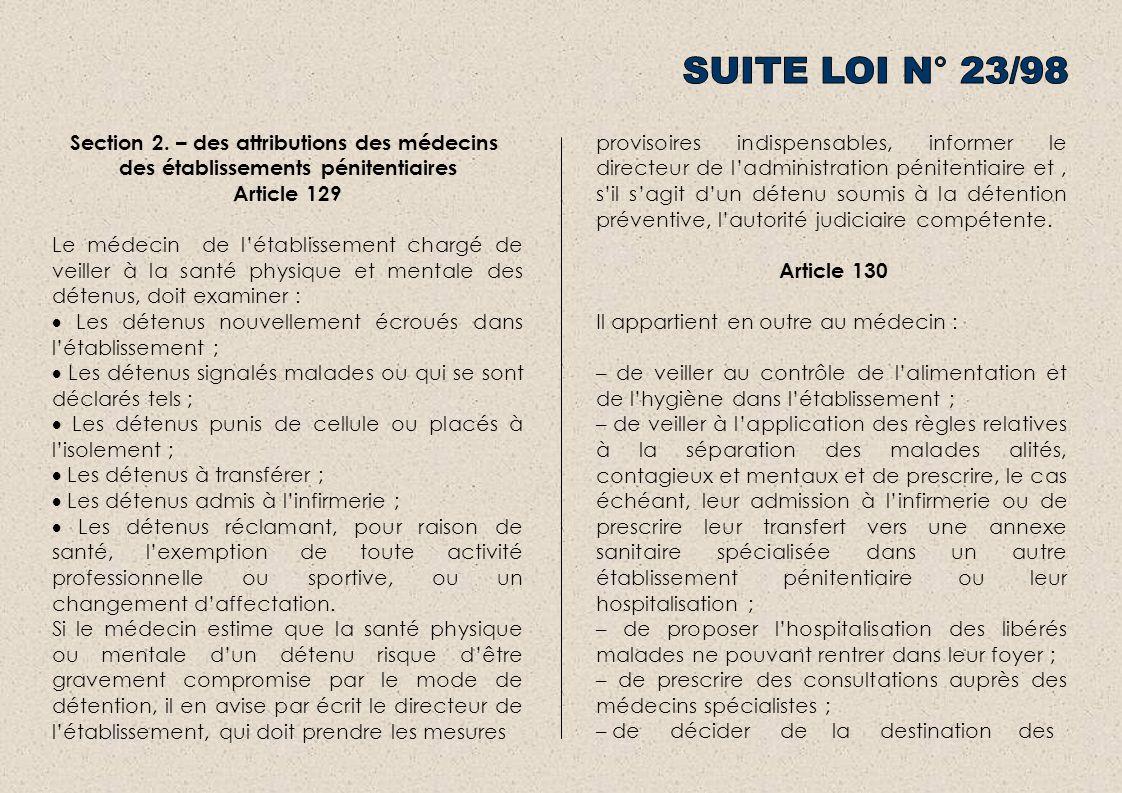 SUITE LOI N° 23/98 Section 2. – des attributions des médecins