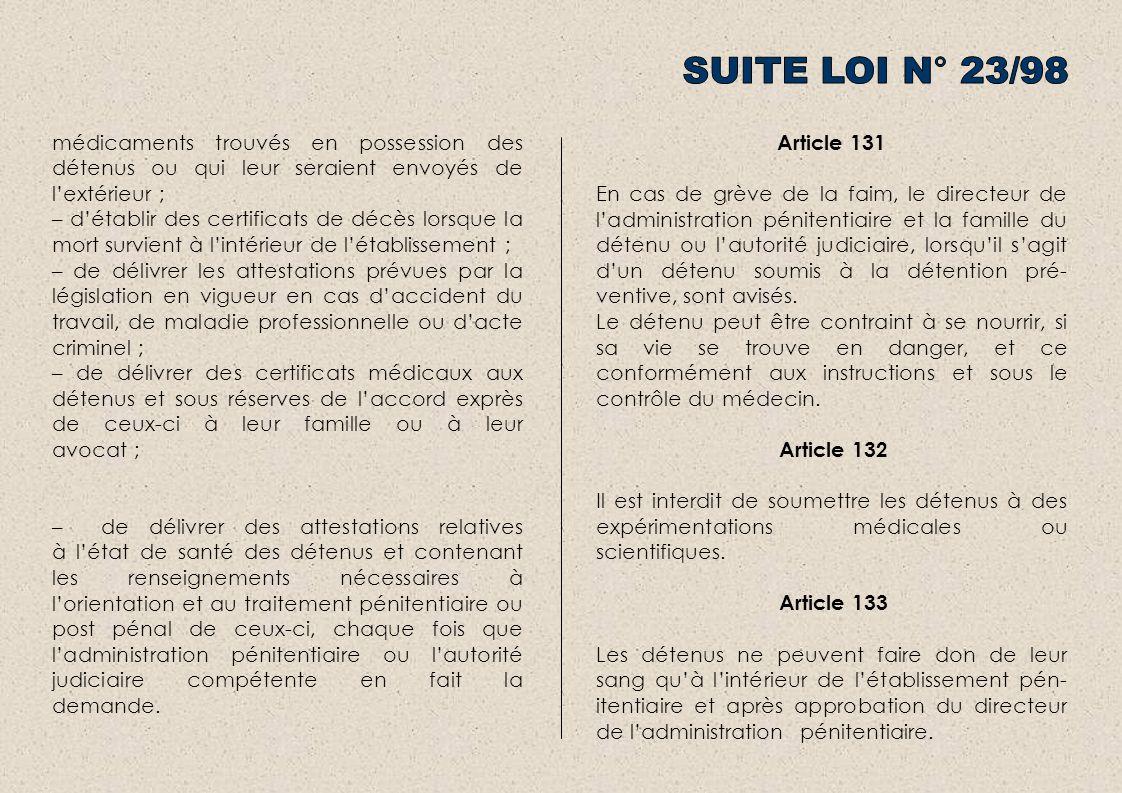 SUITE LOI N° 23/98 médicaments trouvés en possession des détenus ou qui leur seraient envoyés de l'extérieur ;
