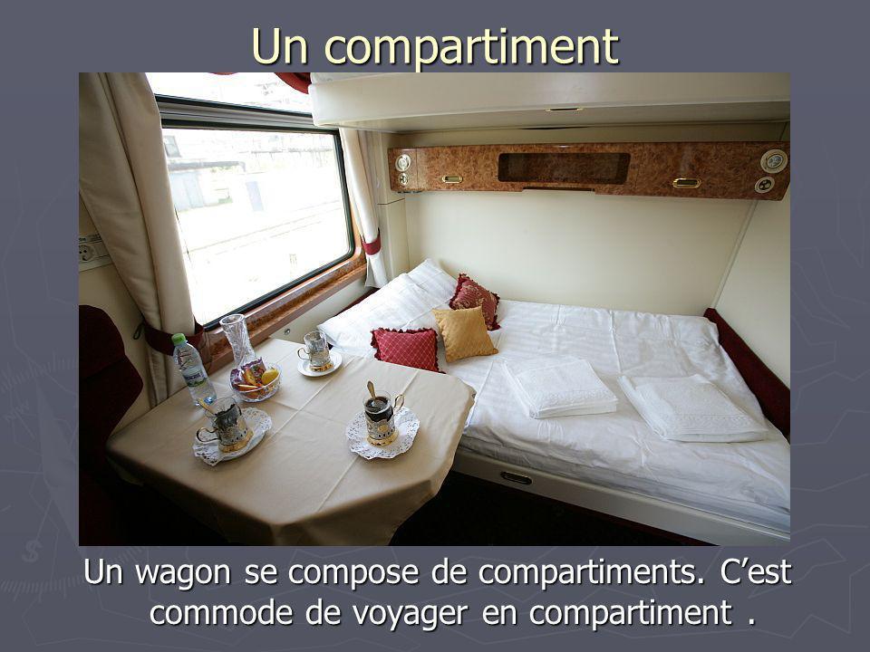 Un compartiment Un wagon se compose de compartiments. C'est commode de voyager en compartiment .