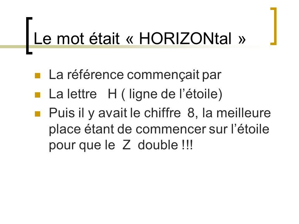 Le mot était « HORIZONtal »
