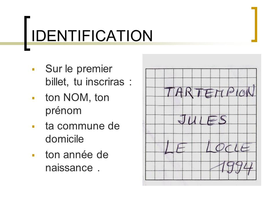 IDENTIFICATION Sur le premier billet, tu inscriras :