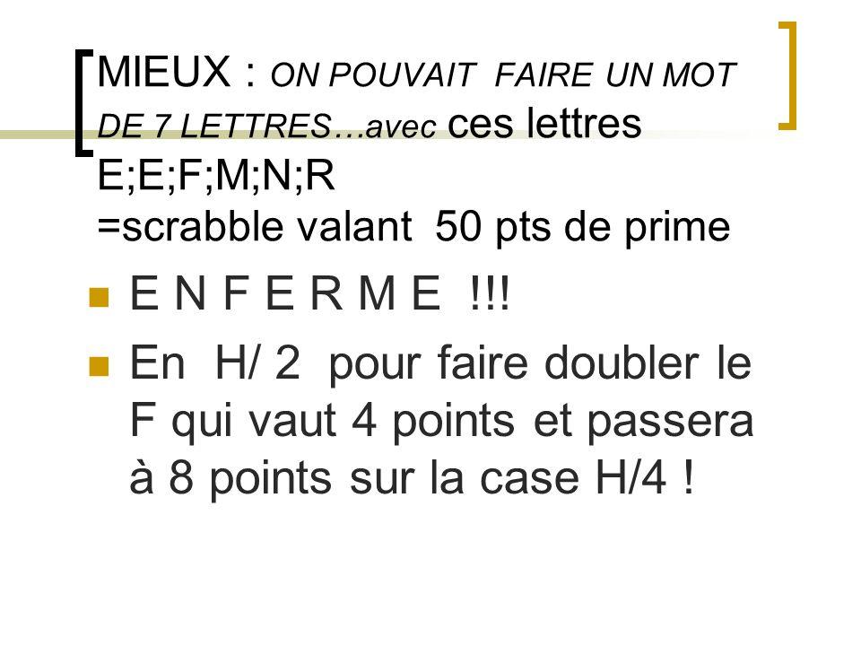 MIEUX : ON POUVAIT FAIRE UN MOT DE 7 LETTRES…avec ces lettres E;E;F;M;N;R =scrabble valant 50 pts de prime