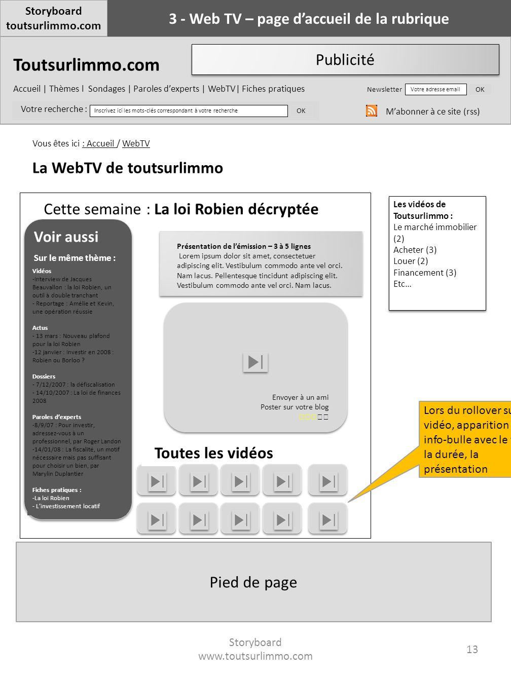 3 - Web TV – page d'accueil de la rubrique